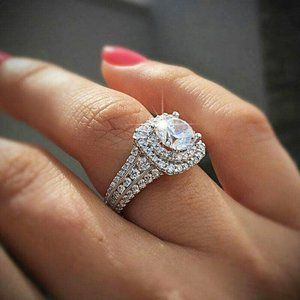 New 925 Silver White Sapphire Ring